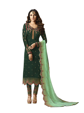 Designer and Beautiful Dark Green Color Straight Cut Suit