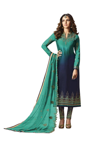 Designer and Beautiful Blue & Navy Blue Color Straight Cut Suit