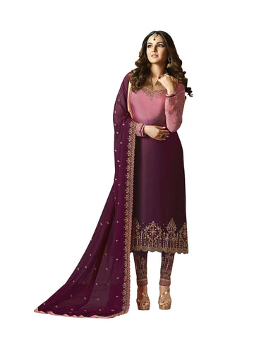 Designer and Beautiful Pink & Wine Color Straight Cut Suit