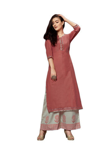 Designer and Beautiful Rust Red Color Straight Cut Kurti with Palazzo
