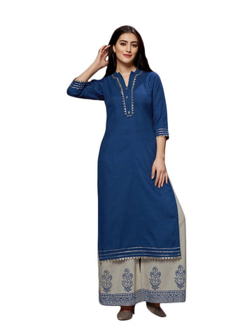 Designer and Beautiful Royal Blue Color Straight Cut Kurti with Palazzo