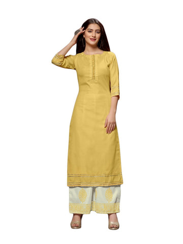 Designer and Beautiful Yellow Color Straight Cut Kurti with Palazzo