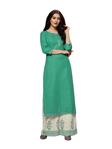 Designer and Beautiful Sea Green Color Straight Cut Kurti with Palazzo