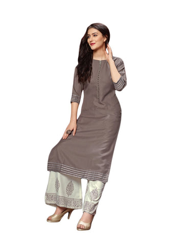Designer and Beautiful Grey Color Straight Cut Kurti with Palazzo