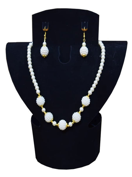 Pearl Necklace and Earrings Set - PurpleTulsi.com