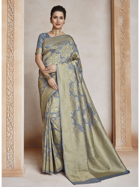 Designer and Beautiful Grey & Beige Color Saree