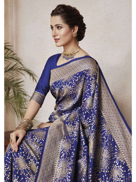 Designer and Beautiful Navy Blue & Beige Color Saree