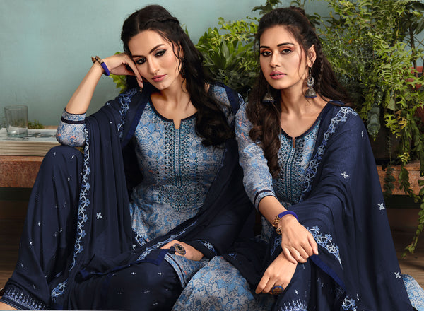 Designer and Beautiful Grey Color Patiala Suit