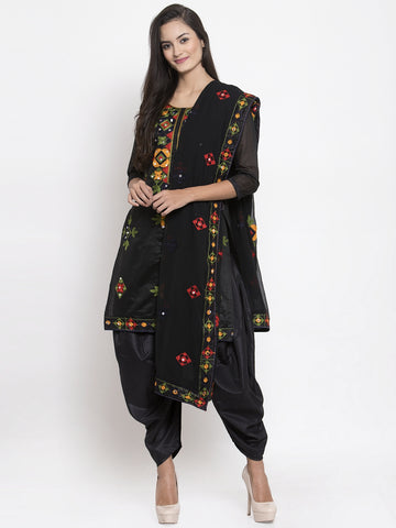 Black Chanderi silk Embroidered Patiala Suit