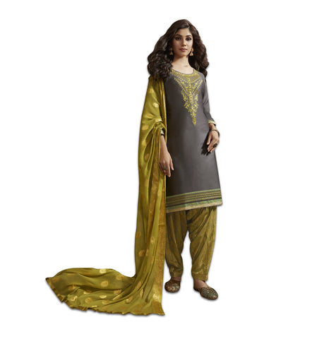 Grey Satin Cotton Embroidered Patiala Suit