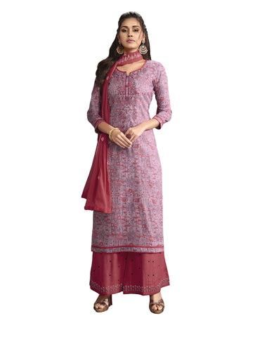 Light Purple Satin Cotton Embroidered Patiala Suit