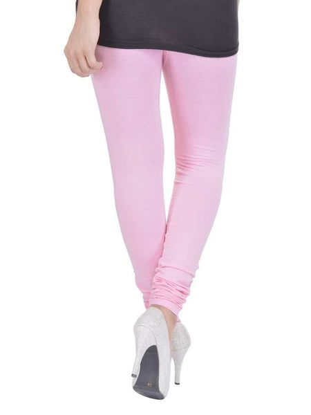Pink Cotton Lycra Leggings - PurpleTulsi.com