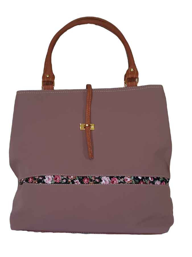 Pink designer soft bag in velvet and artificial leather - PurpleTulsi.com  - 1