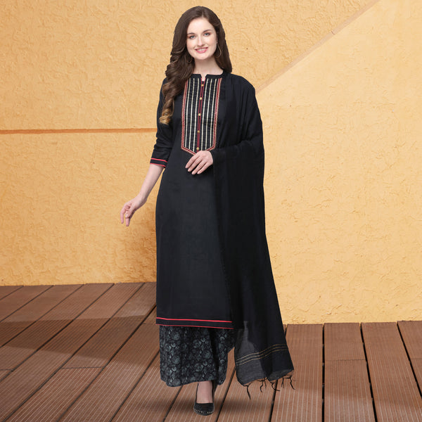 Black Jam Silk Cotton Embroidered Straight Cut Suit