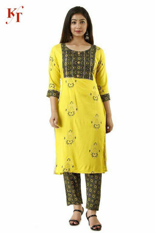 Designer Rayon Printed Straight Cut Kurti with Pant