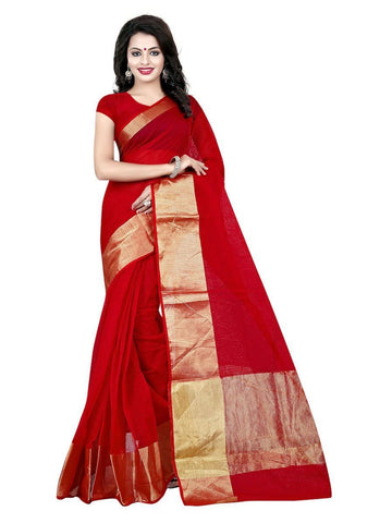 Cotton Red Weaving  Saree With Blouse