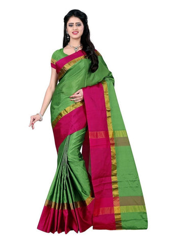 Art Silk Green Weaving  Saree With Blouse