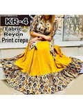 Beautiful Multi Color Digital Printed Crepe Anarkali Kurti