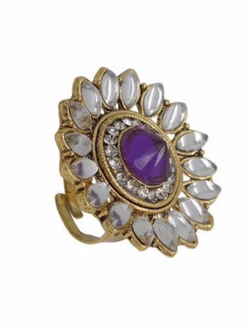 Golden and Purple Finger Ring - PurpleTulsi.com