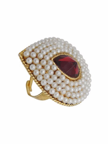 Golden Finger Ring with Pearls - PurpleTulsi.com
