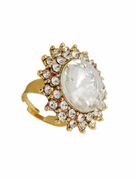 Golden Finger Ring with American Diamonds - PurpleTulsi.com