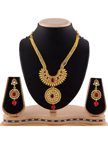 Traditional Maroon & Green  Austrian Stone Gold Finishing Necklace Set