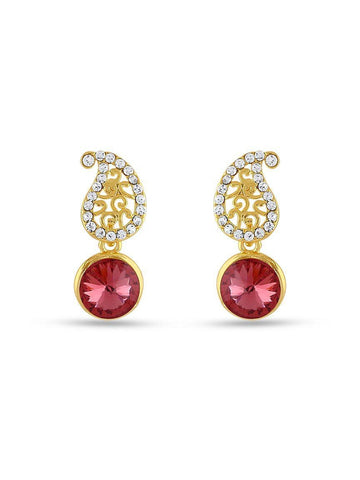 Pink Stone Gold Finishing Party Wear Top Earrings