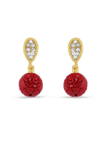 Floral Designer Stone Work Gold Finishing Top Earrings