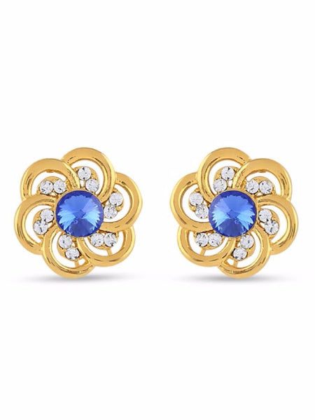 Golden Studs with Blue Stone - PurpleTulsi.com