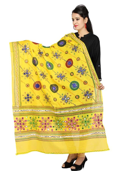 Yellow Cotton Dupatta with Kutchi Design Print - PurpleTulsi.com