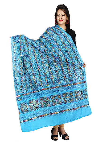 Sky Blue Cotton Dupatta with Kutchi Design Print - PurpleTulsi.com