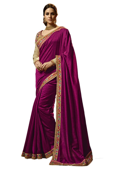 Beautiful Purple Color Embroidered Tuton Silk Saree