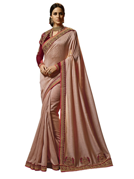 Beautiful Light Pink Embroidered Zapata Silk Saree