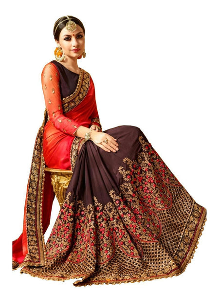 Beautiful Blood Red Embroidered Georgette Saree