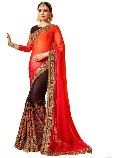 Beautiful Red Embroidered Georgette Saree