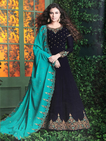 Designer Blue Color Embroidered Long Anarkali Suit With Heavy Dupatta