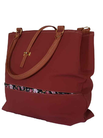 Red designer soft bag in velvet and artificial leather - PurpleTulsi.com