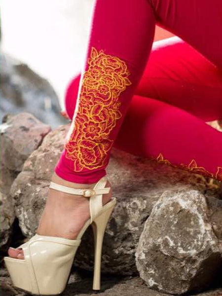 Rani Pink Embroidered Leggings