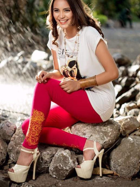 Red with Orange Embroidered Leggings