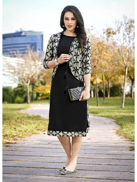 Printed Black and Cream Color Rayon and Cotton Kurti
