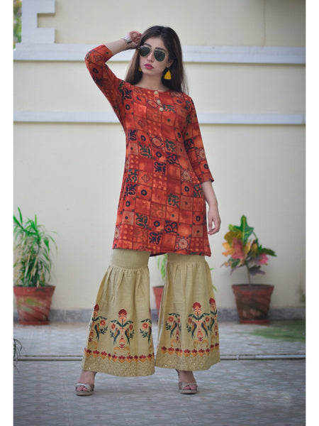 Designer and Beautiful Red Color Straight Cut Kurti with Palazzo