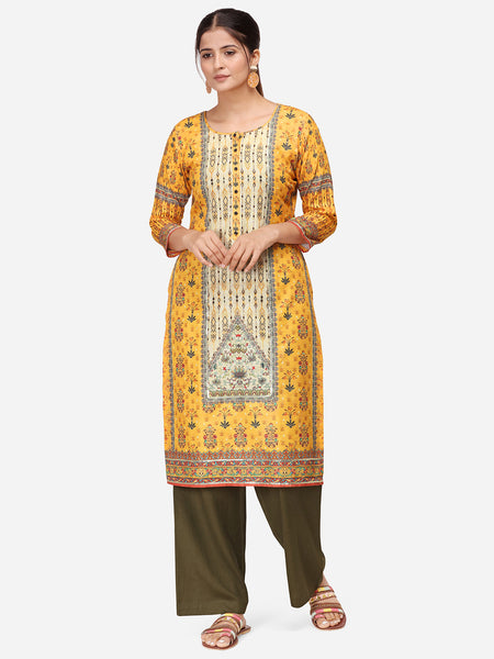 Mustard Rayon Digital Printed Kurti with Palazzo