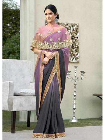 Beautiful Peach & Grey Cadbury Chiffon Georgette Printed Saree