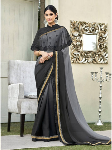Beautiful Grey & Black Cadbury Chiffon Georgette Printed Saree
