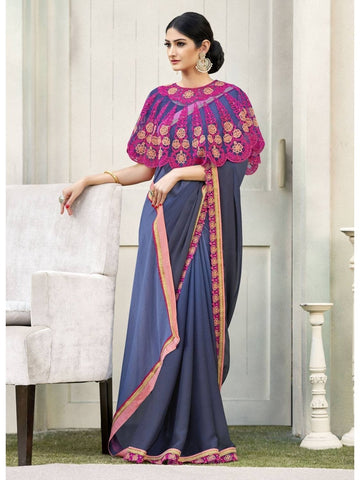 Beautiful Blue Cadbury Chiffon Georgette Printed Saree