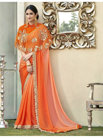 Beautiful Orange Cadbury Chiffon Georgette Printed Saree