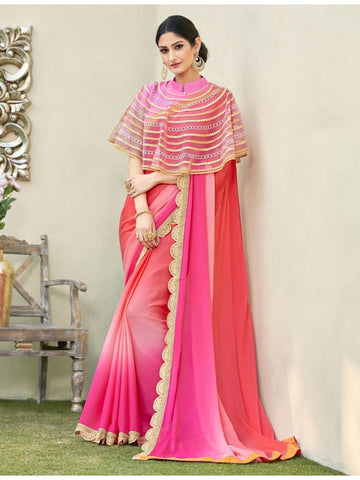 Beautiful Pink & Red Cadbury Chiffon Georgette Printed Saree