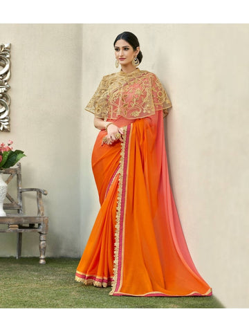 Beautiful Orange & Peach Cadbury Chiffon Georgette Printed Saree