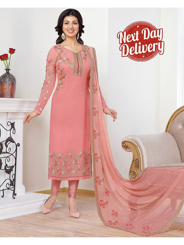 Beautiful Peach Resham Embroidered stitched Suit