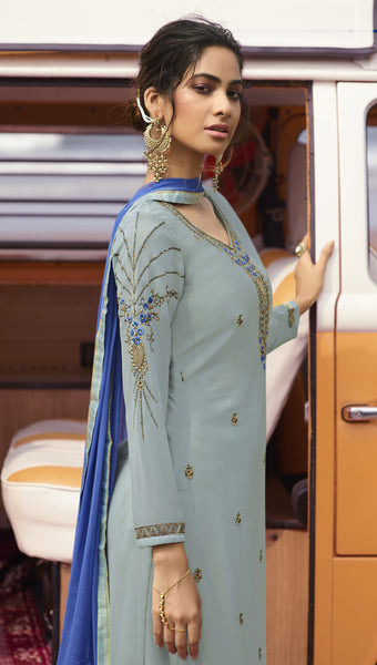 Bluish Grey Georgette Embroidered Straight Cut Suit